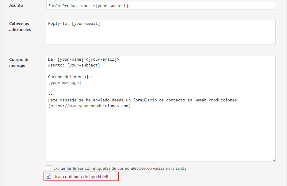 Activar HTML