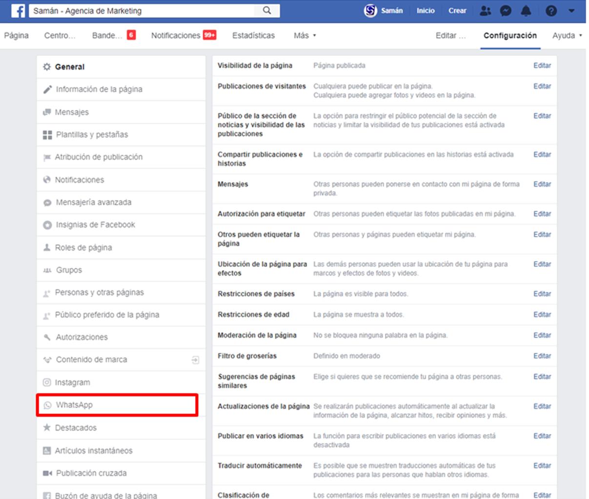 Agregar boton de whatsapp desde facebook web